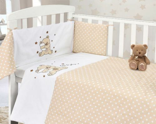 BABY COT NURSERY BEDDING 100% COTTON  2PC BALE COT QUILT & BUMPER CREAM POLKA TIME TO SLEEP TEDDY